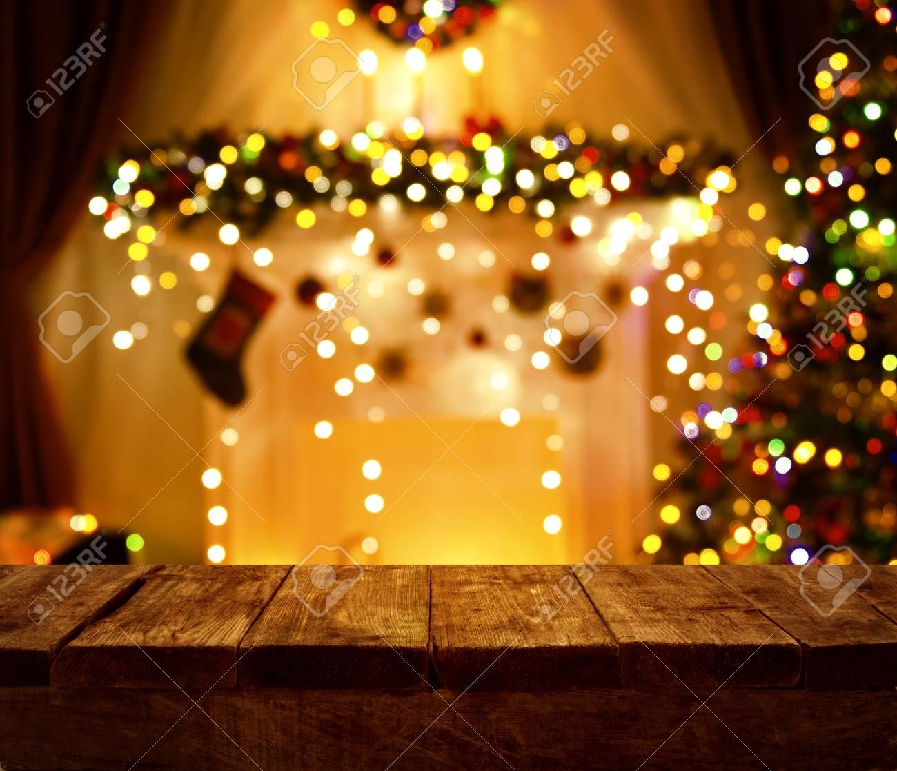 Christmas Kitchen Wood Table Xmas Holiday Night Lights Empty Wooden Desk Stock Photo - & Christmas Kitchen Wood Table Xmas Holiday Night Lights Empty ...