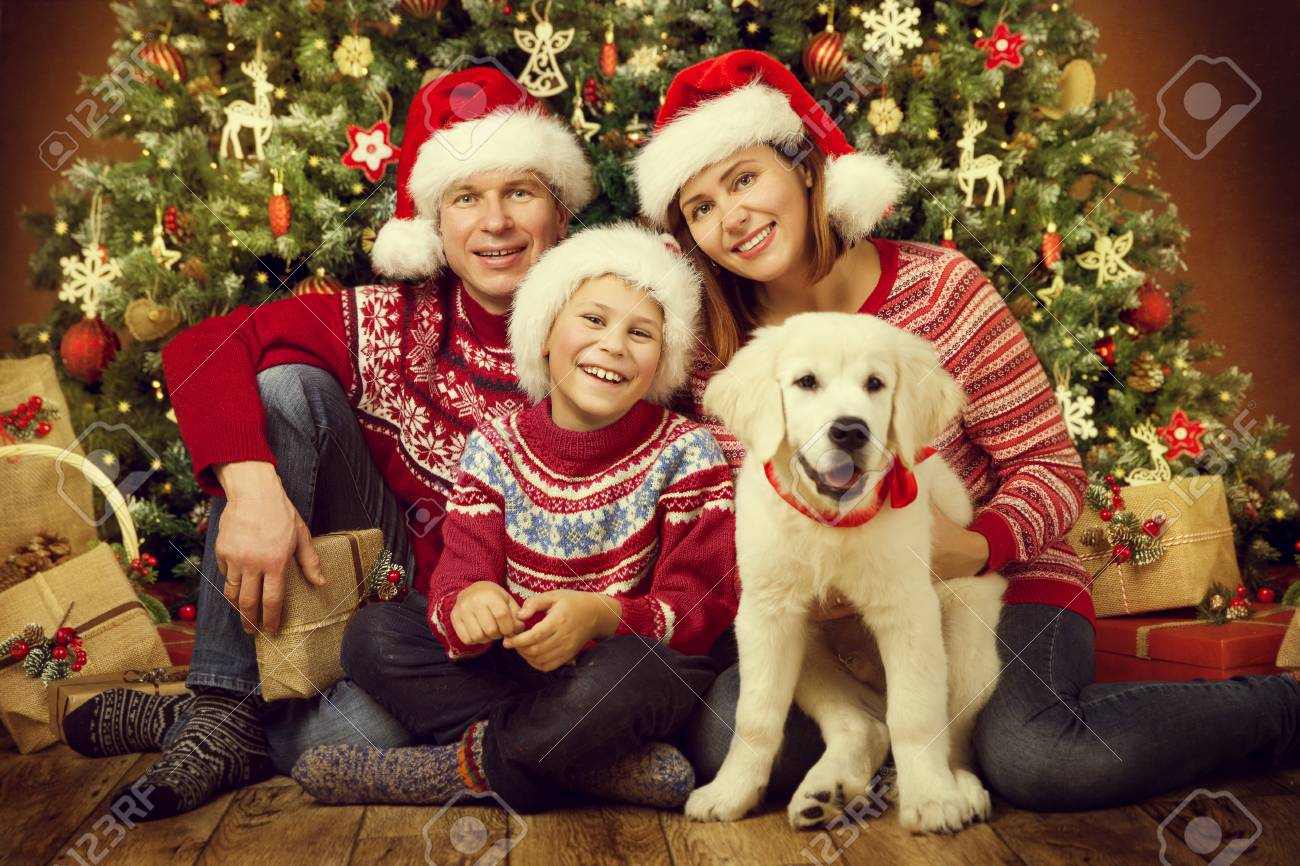 Christmas Family with Dog, Happy Father Mother Child Portrait..