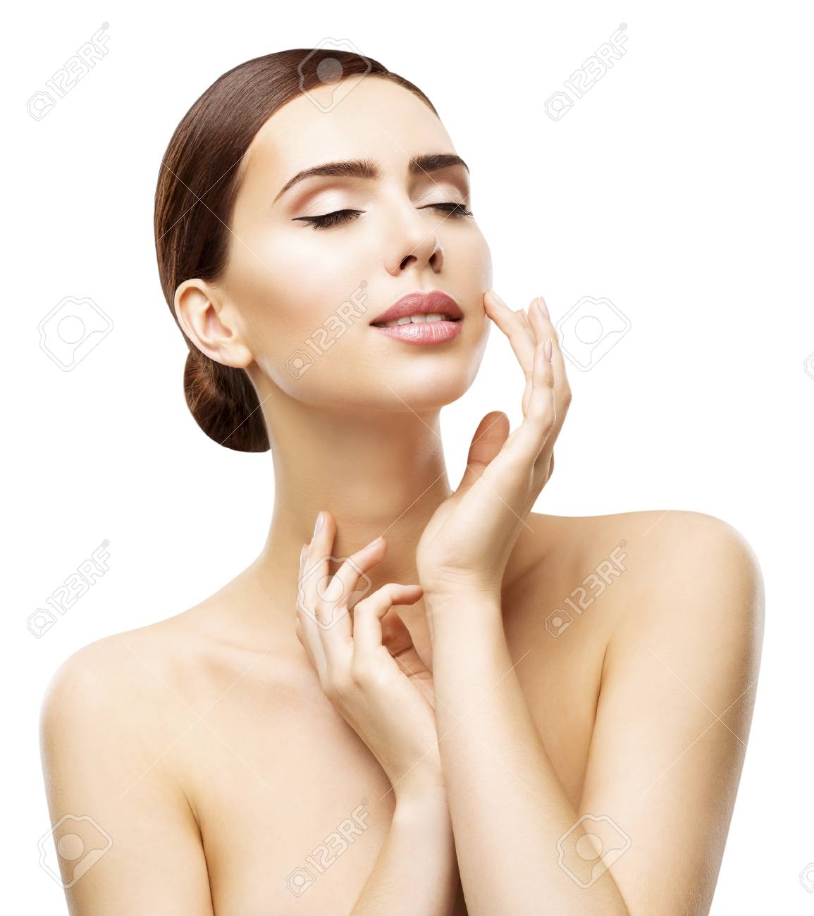 Face Skin Care And Natural Beauty Make Up Woman Touch Lips By Stock Photo Picture And Royalty Free Image Image 94984239