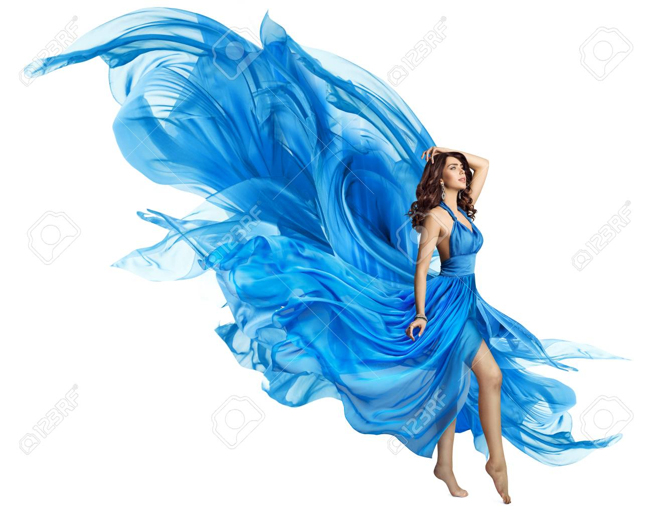 Woman Flying Blue Dress, Elegant Fashion Model in Fluttering Gown on White, Art Fabric Fly and Flutter on Wind - 95117811