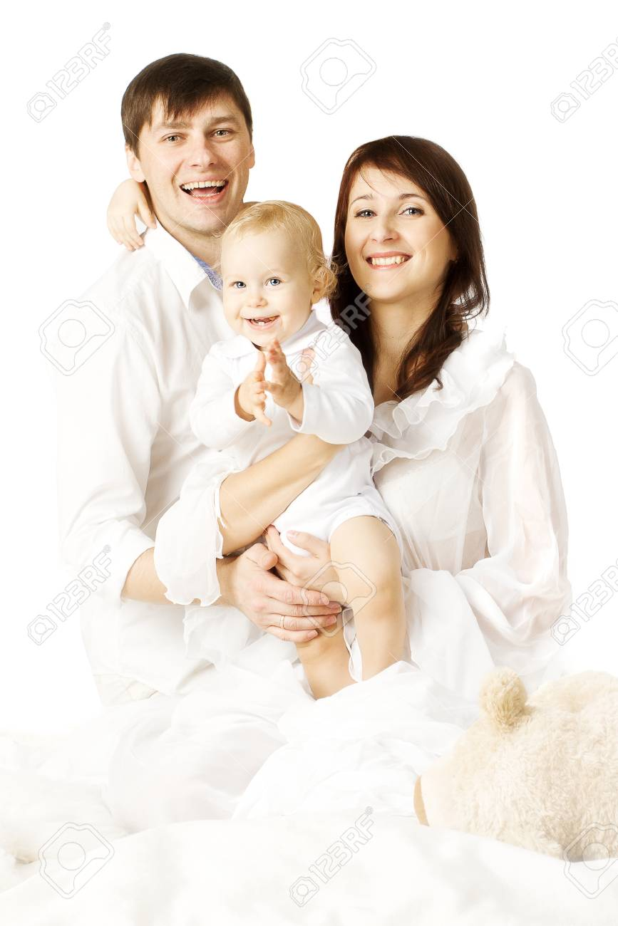 Family portrait mother father and baby happy parents with one year old kid son