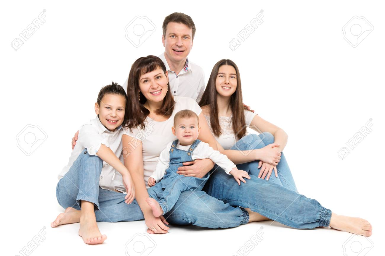 Family Studio Portrait, Happy Parents and Three Children on White Background - 123021675