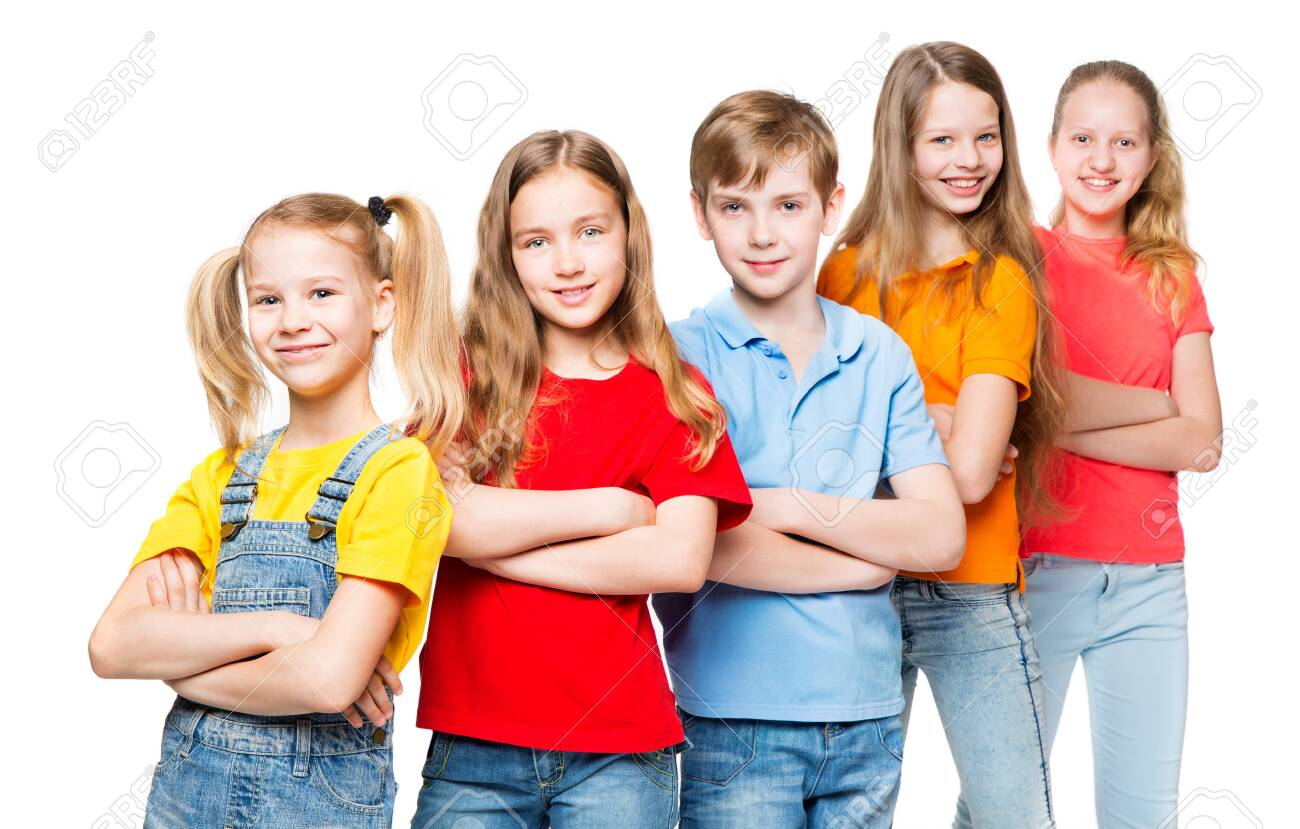 Children Group, Kids over White Background, Happy Smilling People in colorful t-shirts - 123502803
