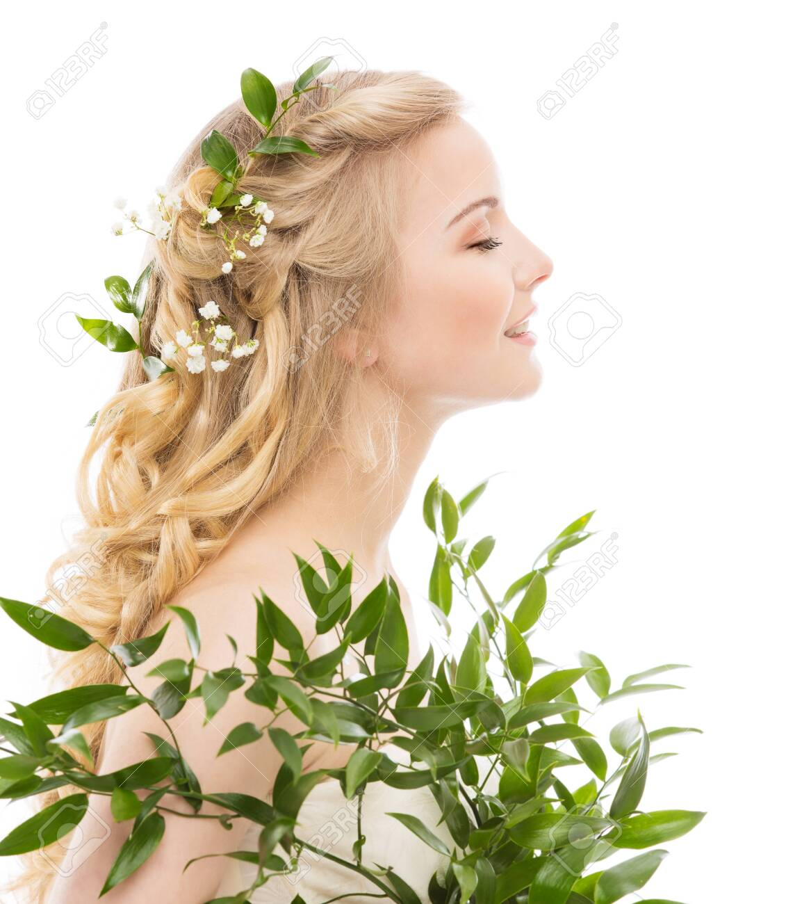 Woman Face Hair Treatment, Fresh Leaves in Hairstyle, Young Smiling Model Beauty Portrait Profile Side View on White - 141343683