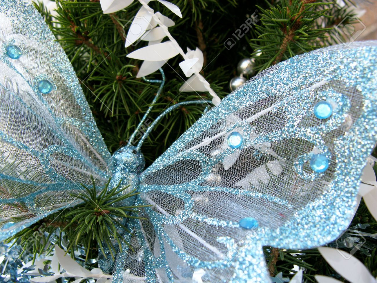 A Butterfly In A Christmas Tree Stock Photo, Picture And Royalty ...