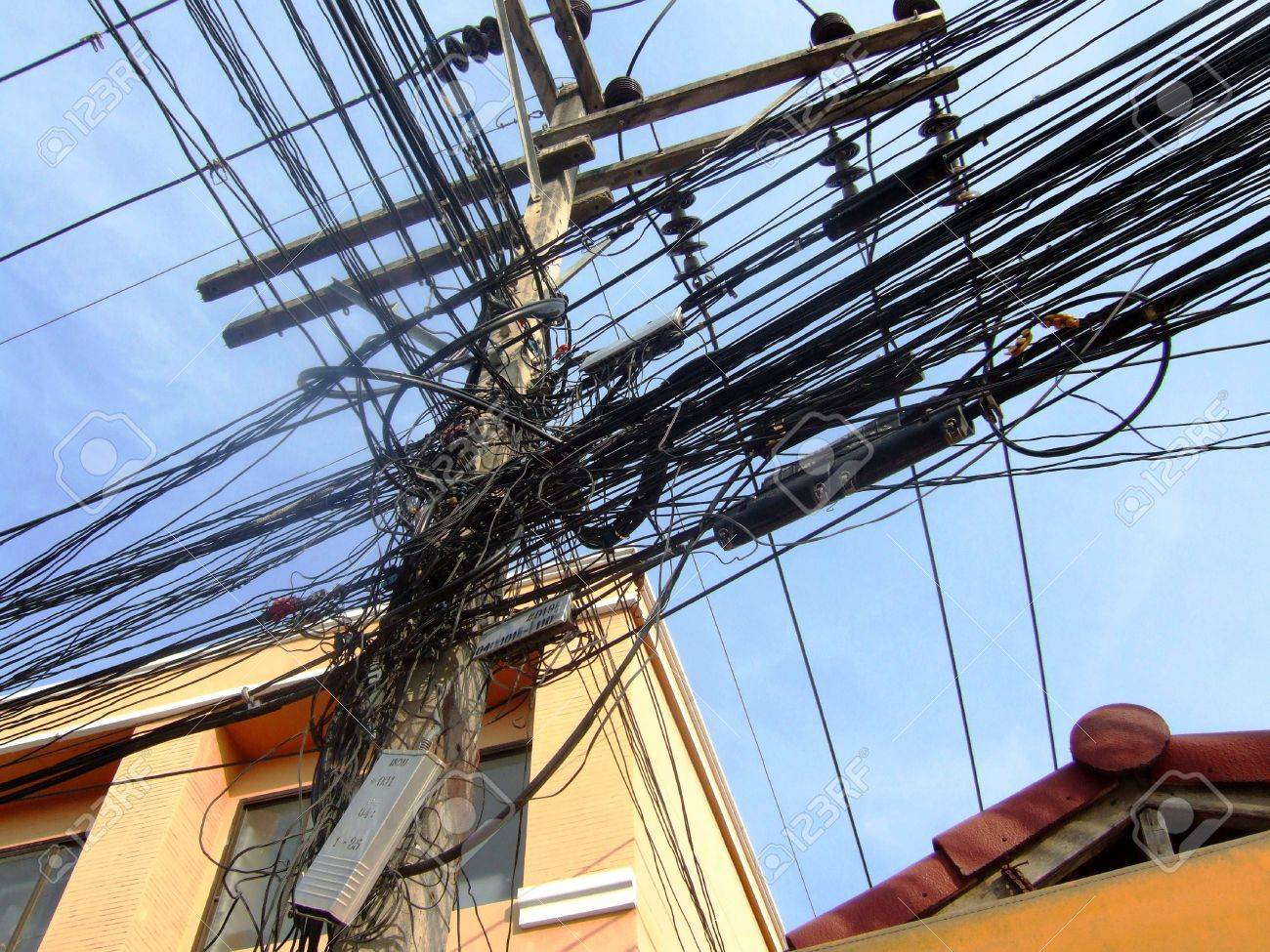 Electricity Wires In The Streets Of Bangkok In Thailand Stock ...