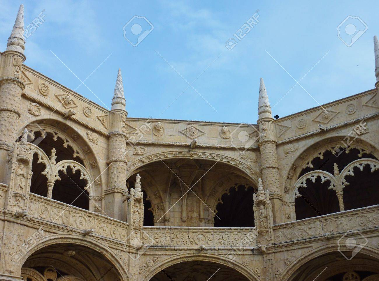 A detail of the arcade of the courtyard of the Hieronymus monastery in Belem a district of Lisbon in Portugal Stock Photo - 12053300
