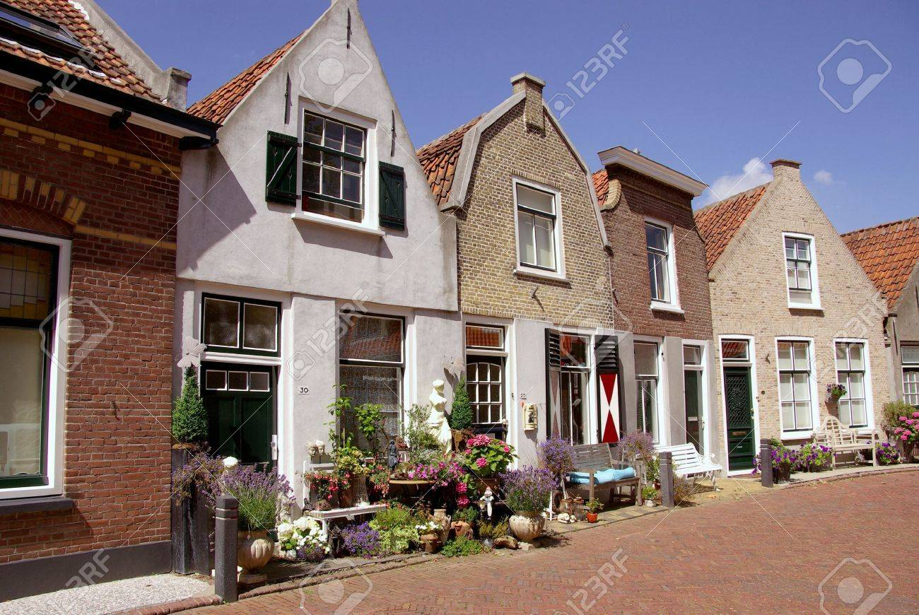 Scenic houses and a street garden with flowering plants Stock Photo - 12506305