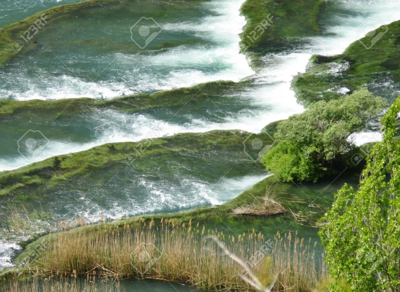 Rapids in the Krka River above the Roski Slap waterfalls in Croatia Stock Photo - 14502564