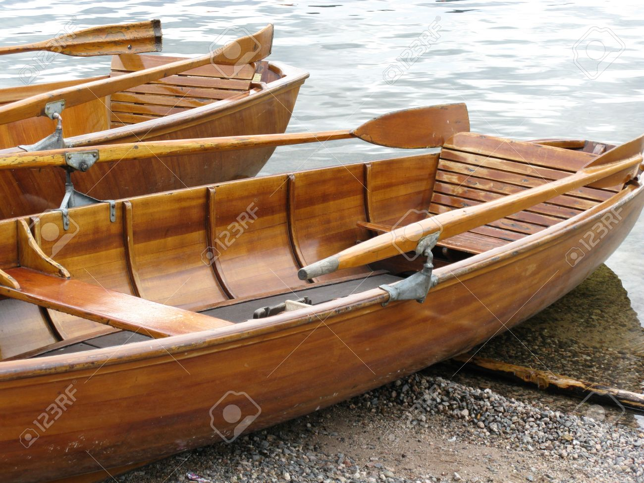 Wooden Ancient Rowing Boats Stock Photo