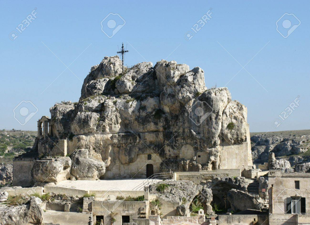 The Madonna de Idris rock church in Matera in Basilicata in the south of Italy Stock Photo - 16257943