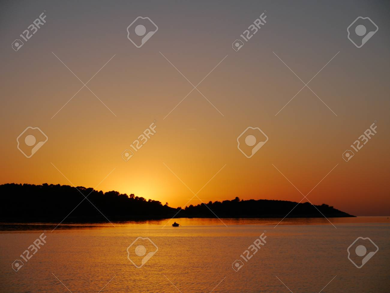 sunset in the Adriatic archipelago of Croatia in the Mediterranean Stock Photo - 16813985