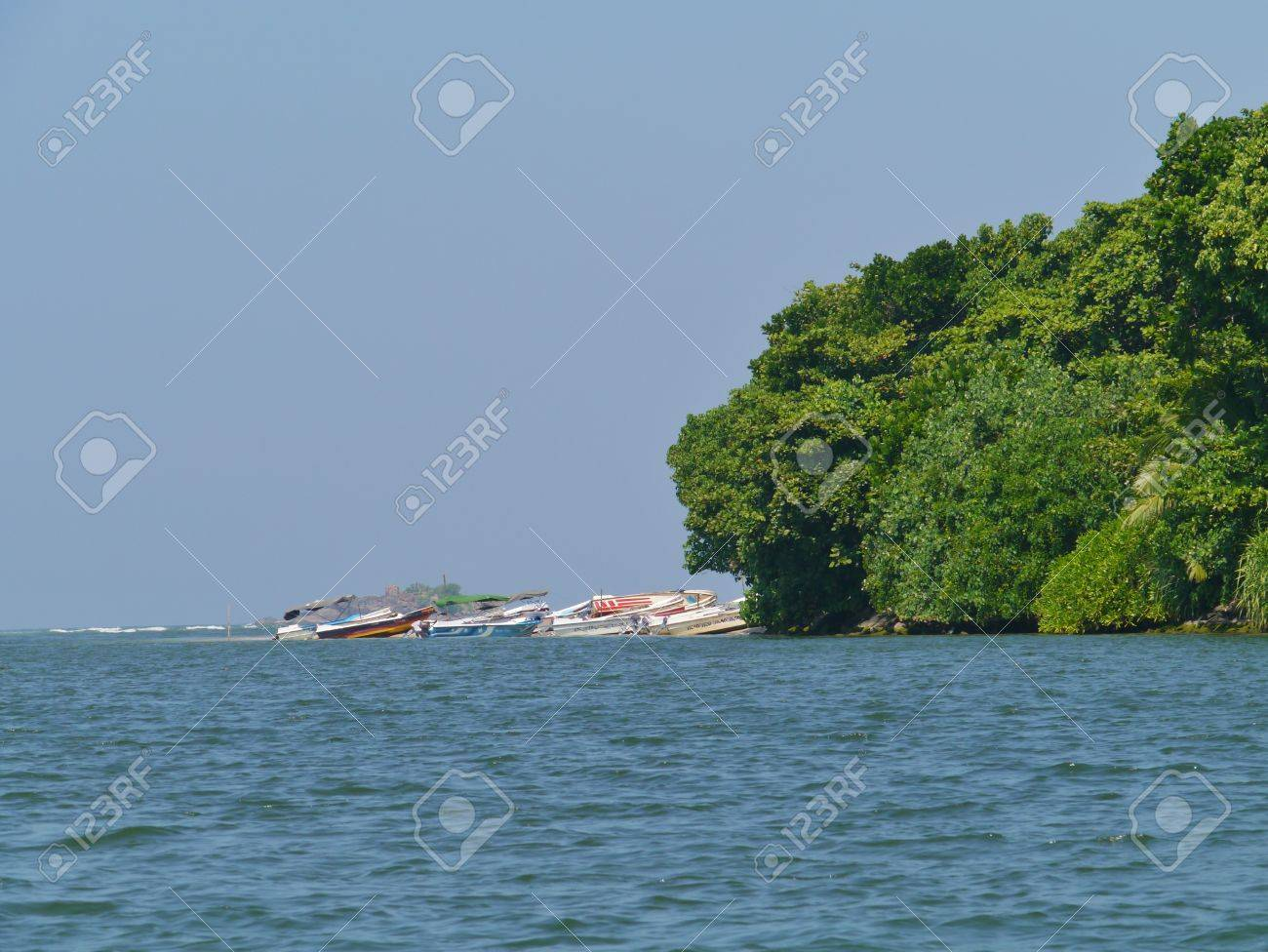 Colorful motor fishing boats on the beach in Sri Lanka Stock Photo - 17816405