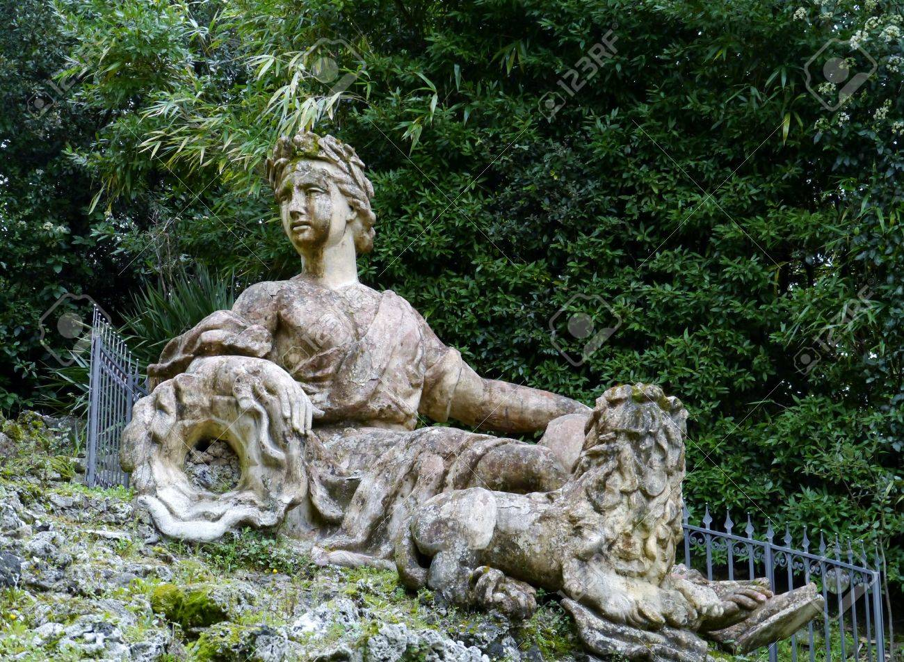 One of the sculptures in the garden of the villa Garzoni in Collodi in Italy Stock Photo - 18786335