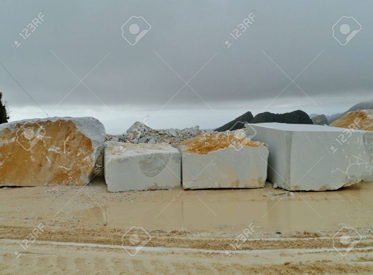 Blocks of marble in an open quarry of white marble in Carrara in Tuscany in Italy Stock Photo - 18786293