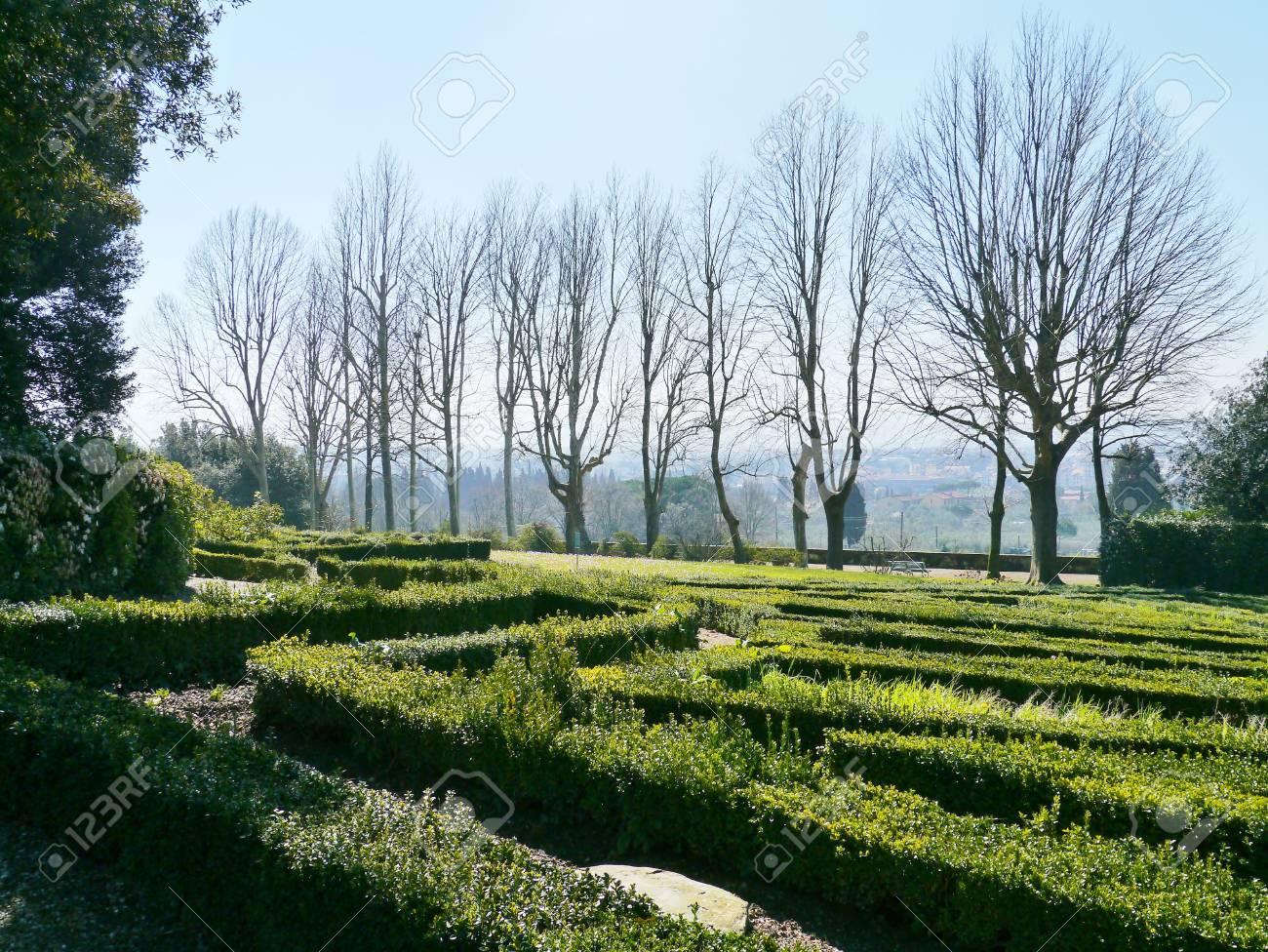 The garden of the villa la Petraia in Castello  in Italy in spring Stock Photo - 18786495