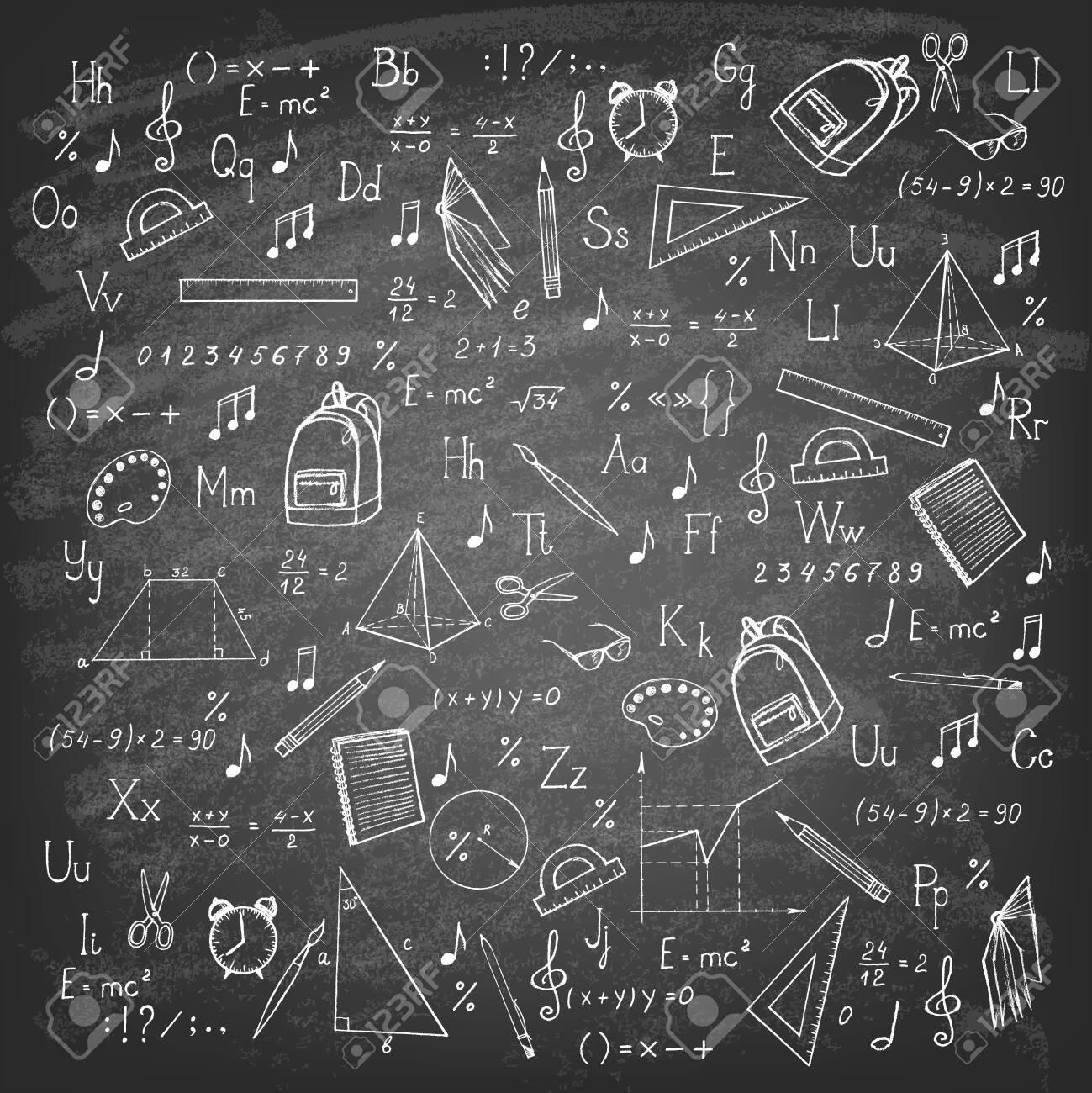 Freehand drawing school items on blackboard. Vector illustration. - 147368324