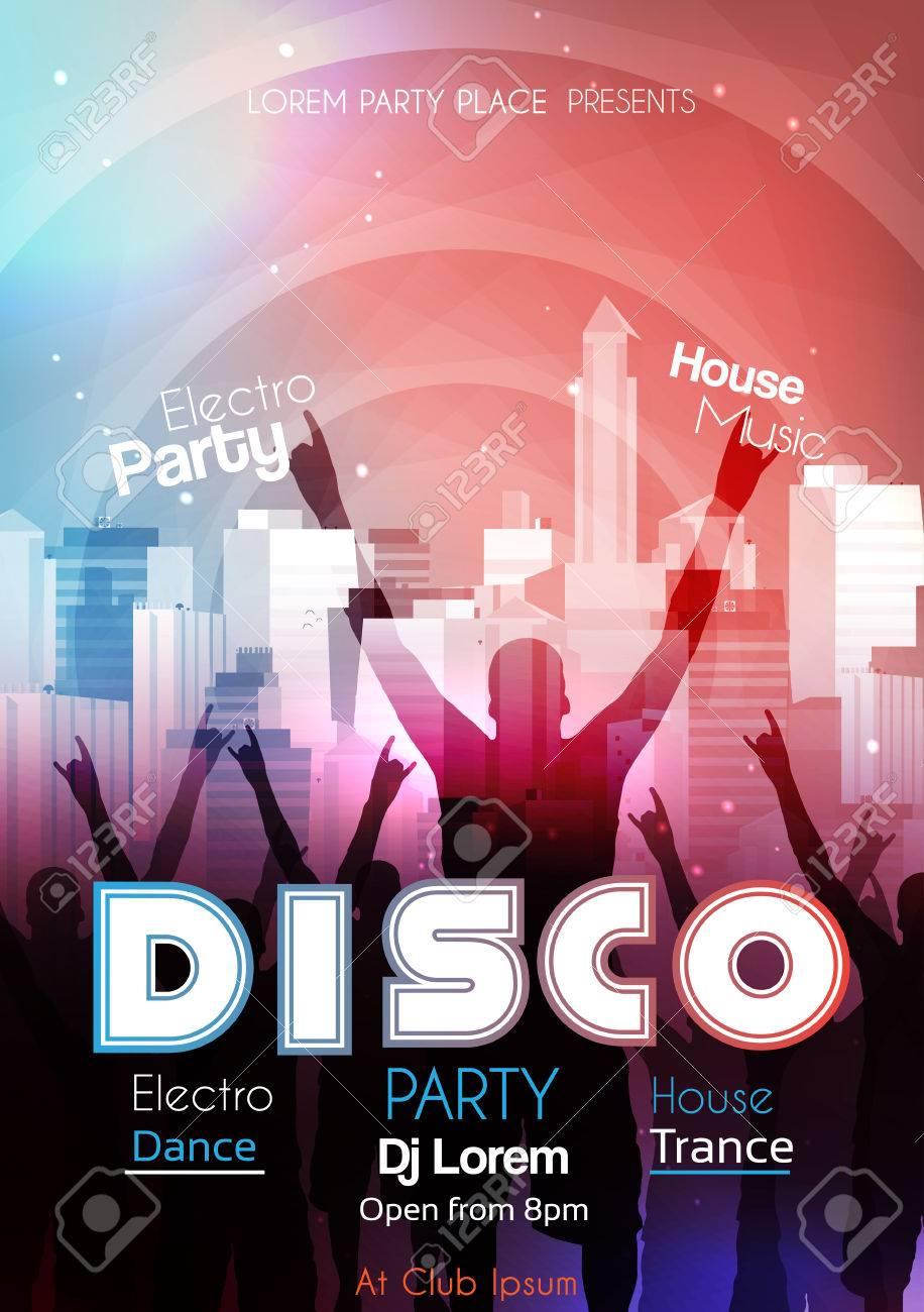 Disco Party Plantilla Del Cartel De Fondo - Ilustración Vectorial ...