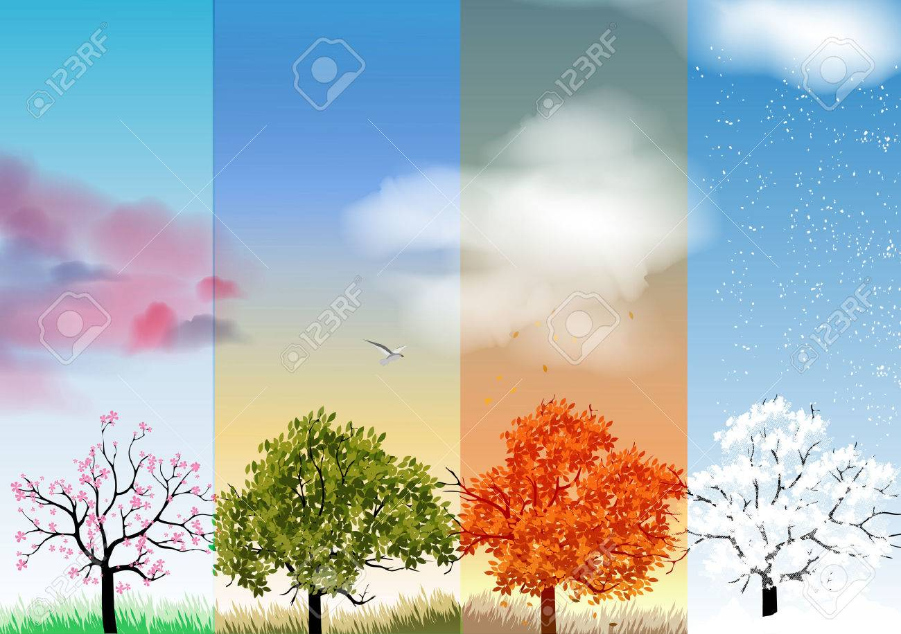 four seasons banners with abstract trees royalty free cliparts
