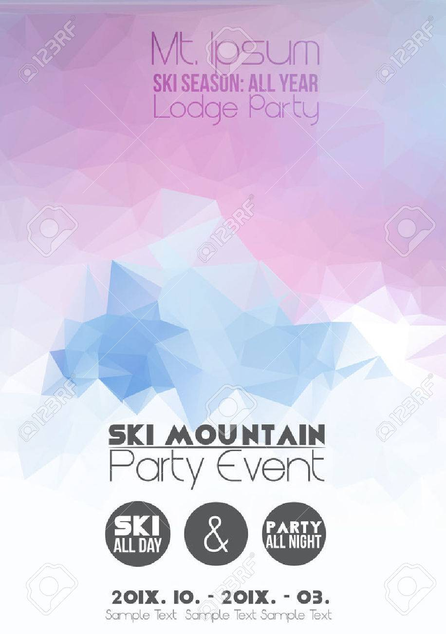 Ski Party Poster Template with Mountain in Clouds - 28849175