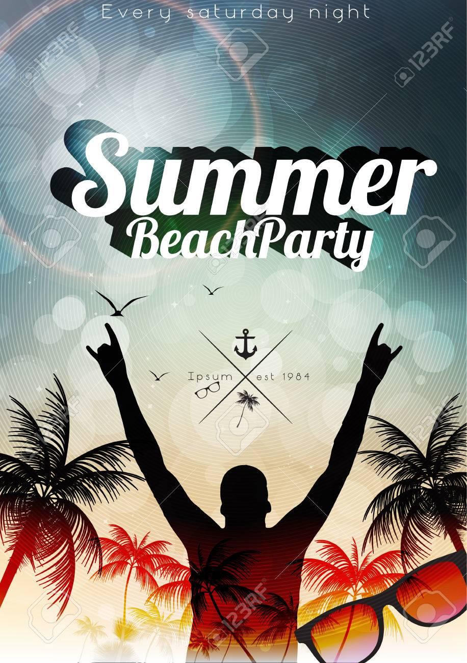 Summer Beach Party Flyer Template - Vector Illustration - 29415693
