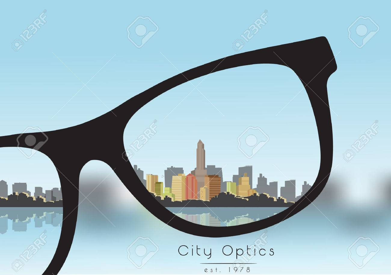 Out of Focus Business Building City with Sky and with Glasses that Correct the Vision - 30100084