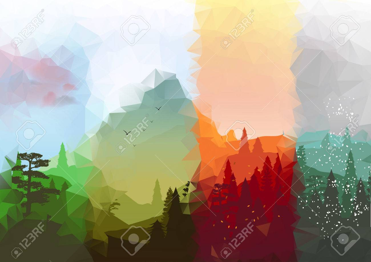 four seasons banners with abstract forest and mountains royalty free