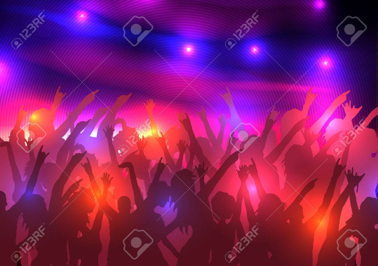 Party Crowd with Disco Spot Lights Background Template - 30487963
