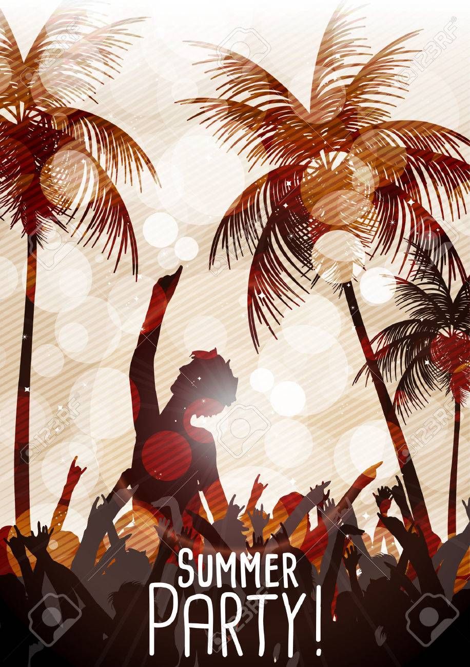 Summer Beach Party Flyer with Dancing People - 30723042