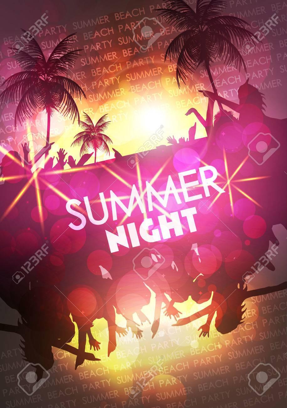 Summer Beach Party Vector Flyer - Vector Illustration - 30828563