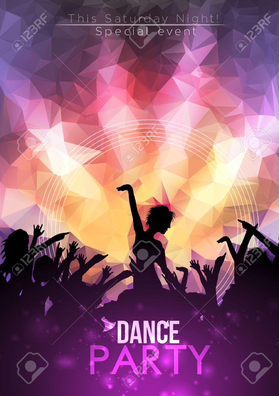 Dance Party Poster Background Template - Vector Illustration - 30899357