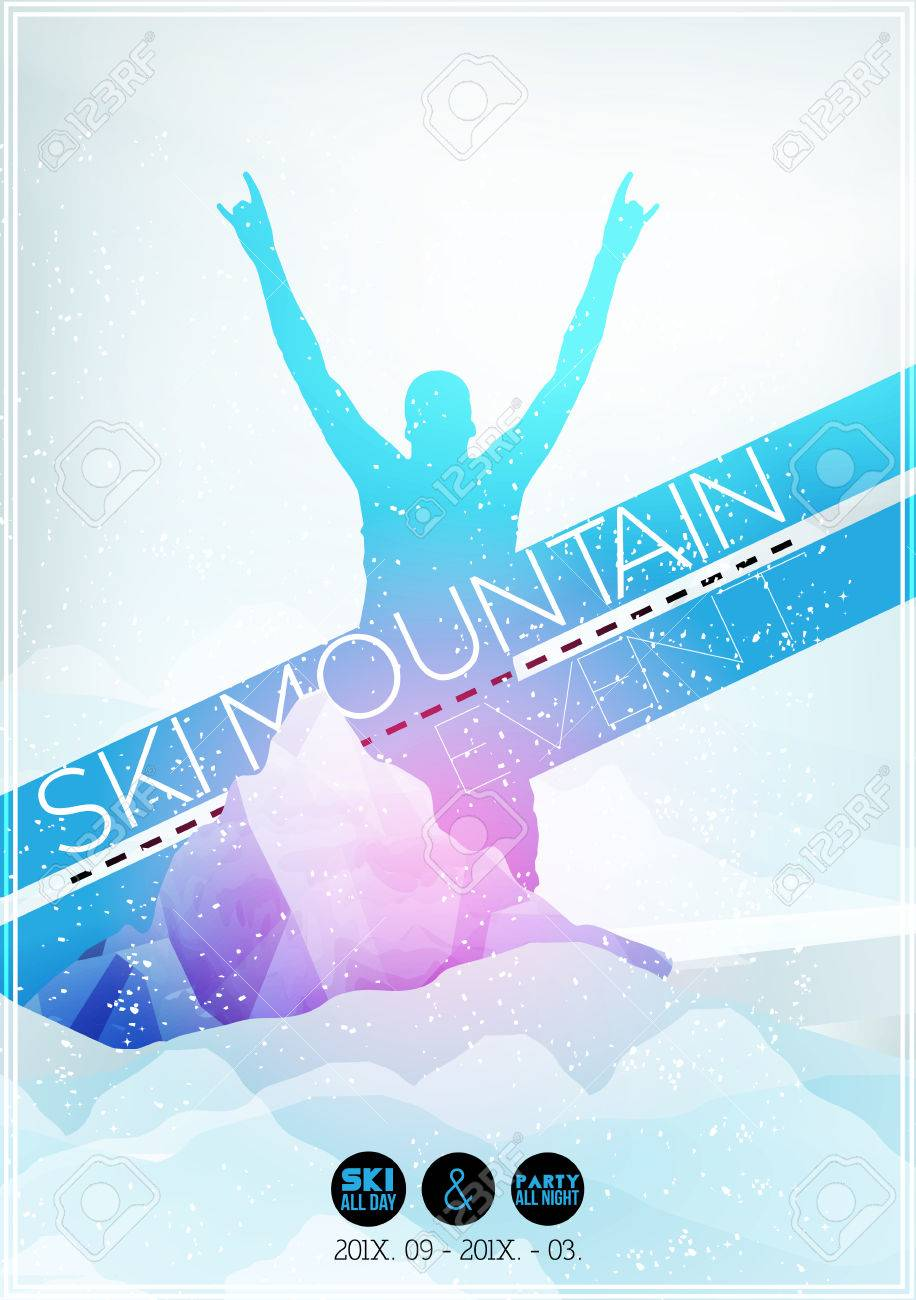 Ski Party Poster Template with Mountain in Clouds - Vector Illustration - 30899376