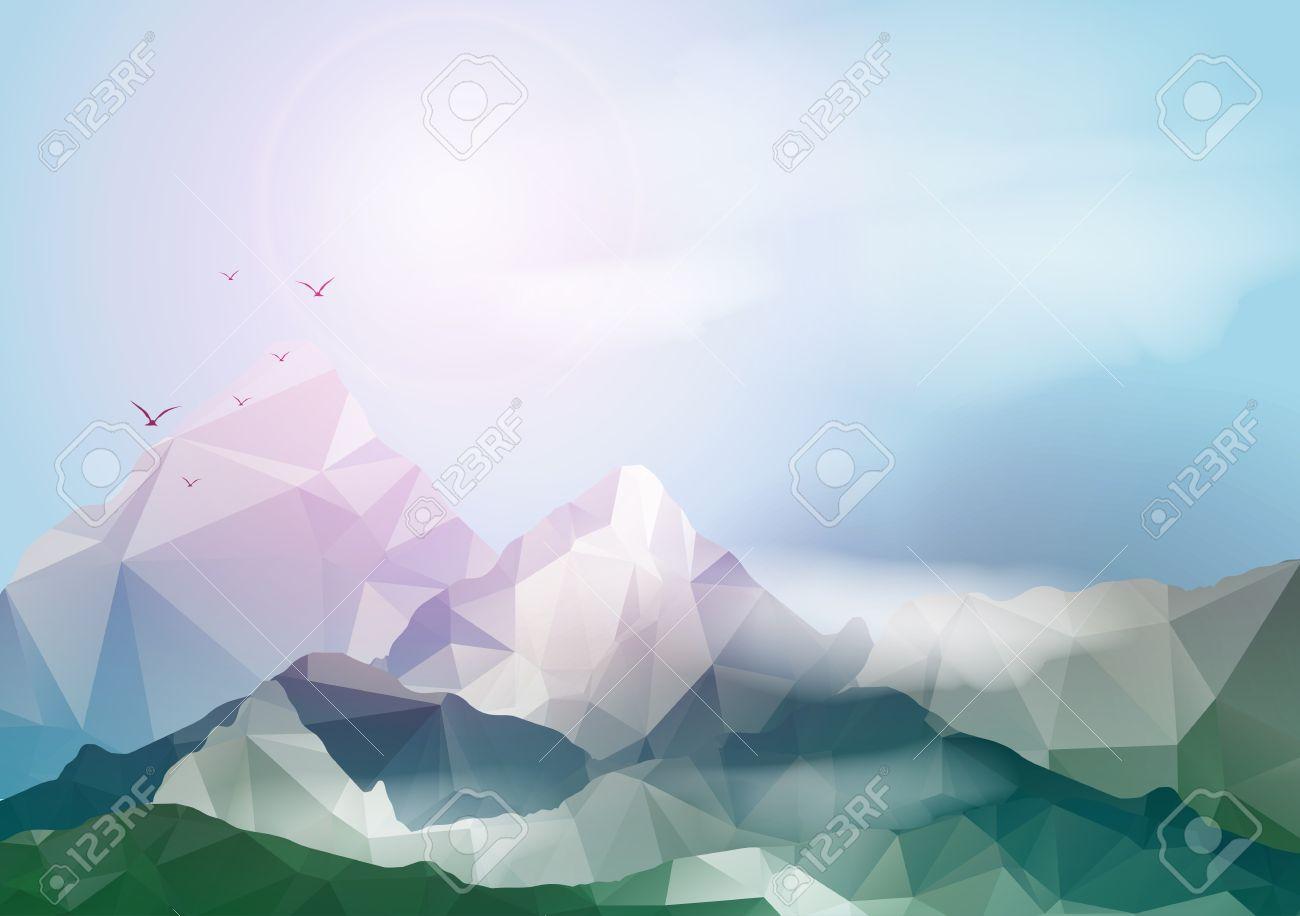 Geometric Mountain Background - Vector Illustration - 31055261