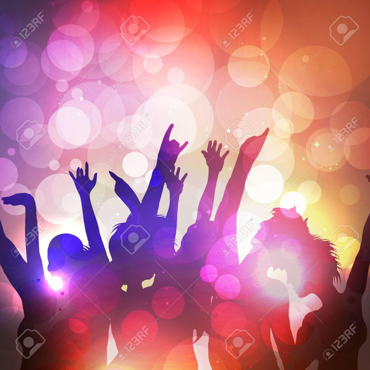 Silhouettes of Dancing People at Summer Party - Vector Illustration - 31050429