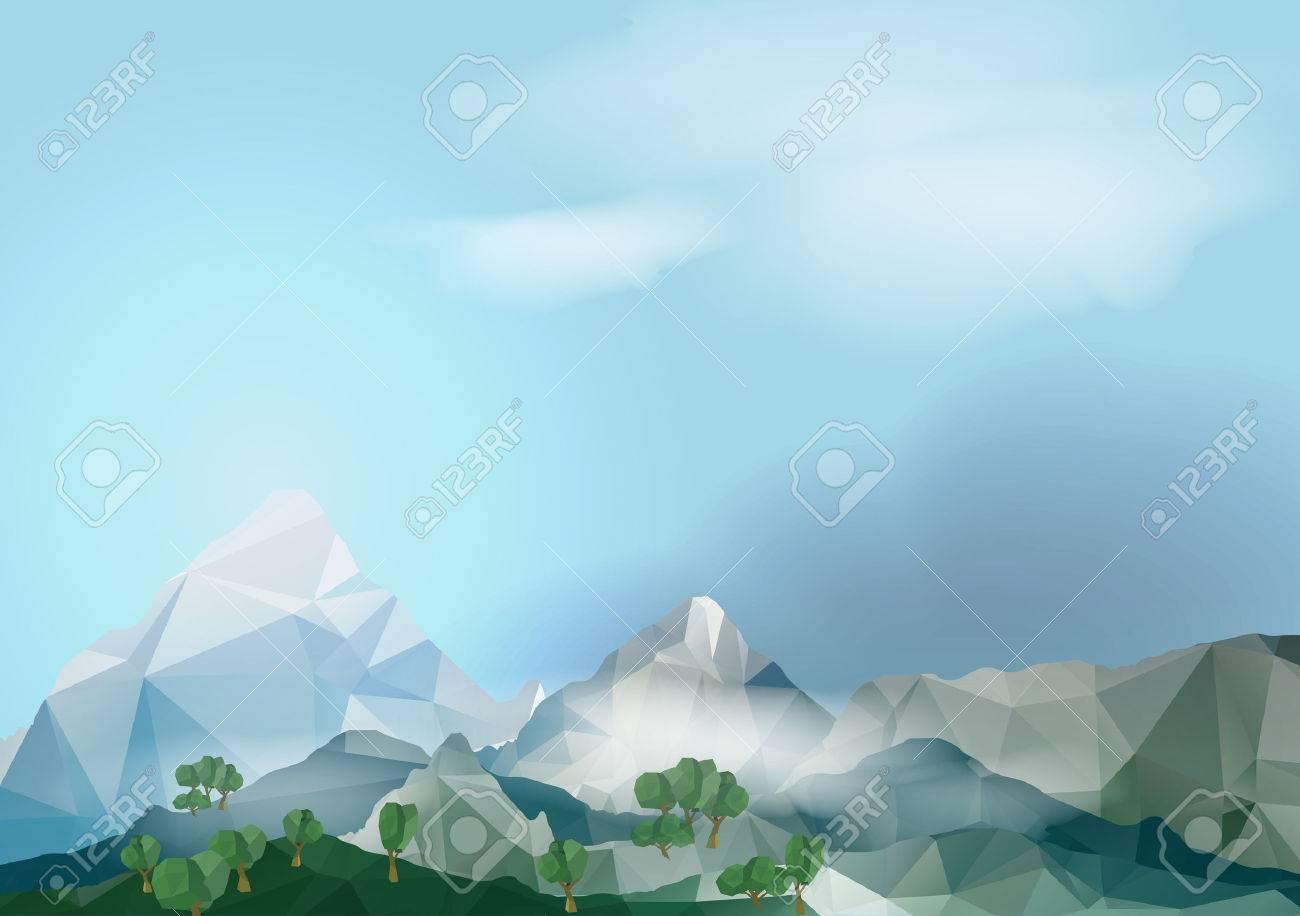 Geometric Mountain Background - Vector Illustration - 31050432