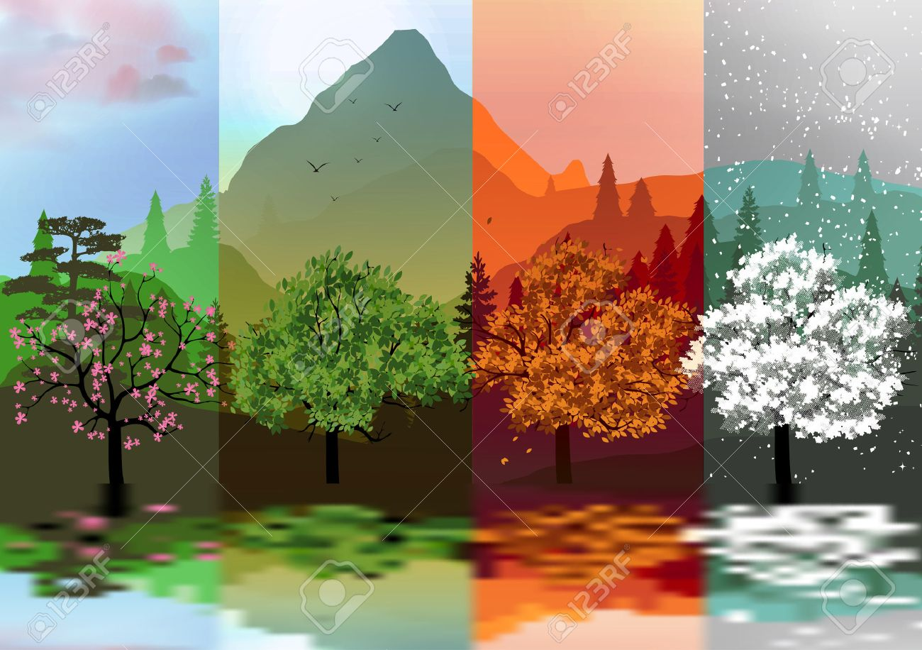 Four Seasons Banners with Abstract Forest and Mountains, Lake Reflection - 31402204