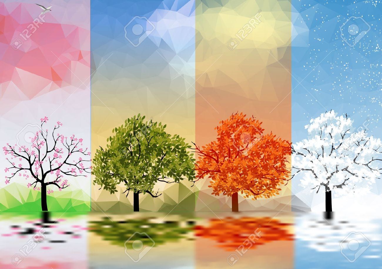 Four Seasons Banners with Trees and Lake Reflection - 31402104