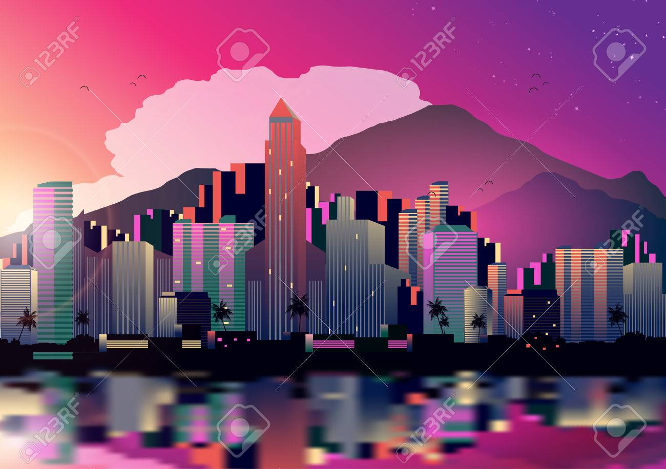 Tropical City Skyline at Night with Reflection Background - Vector Illustration - 31438794