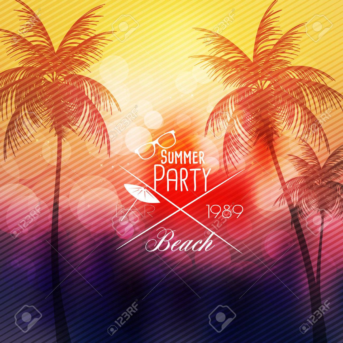 Summer Beach Party Flyer Template - Vector Illustration Royalty Free ...