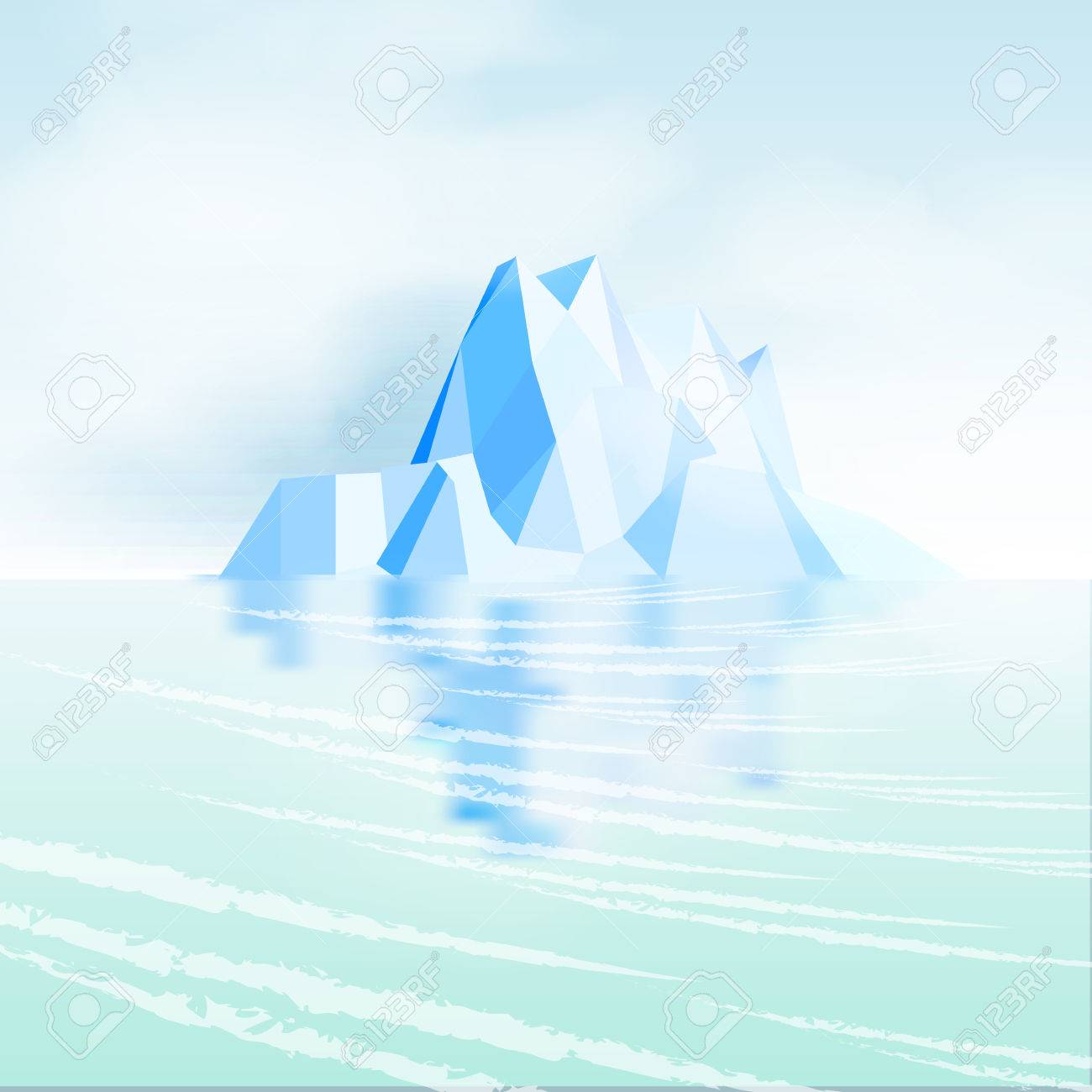 Iceberg with Reflection - Vector Illustration - 32346231