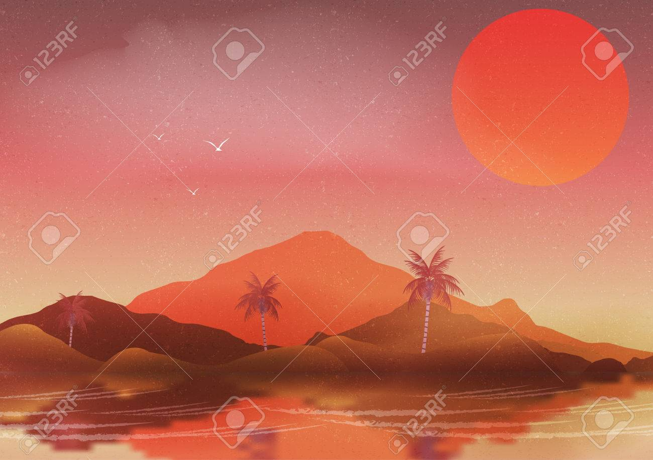 Oasis In A Hot Desert Landscape With Palm Trees And Reflection - A hot desert