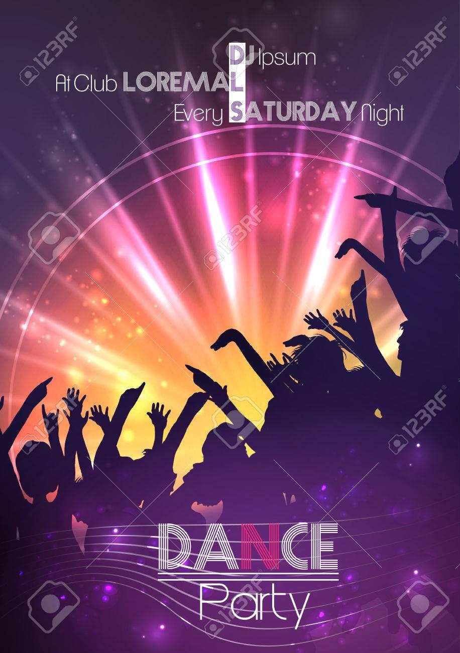 Dance Party Plantilla Del Cartel De Fondo - Ilustración Vectorial ...