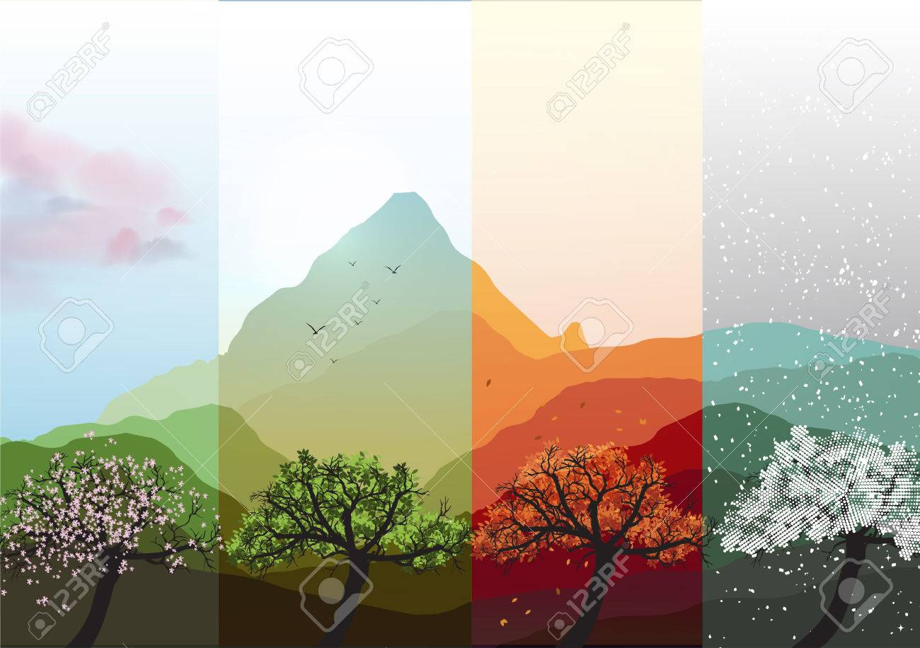 Four Seasons Banners Spring, Summer, Fall, Winter with Abstract Trees and Mountains - Vector Illustration - 36736997