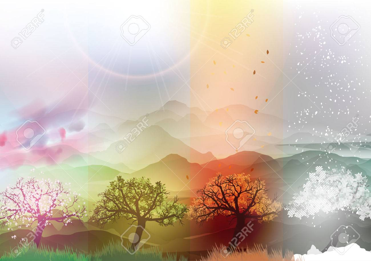 Four Seasons Banners Spring, Summer, Fall, Winter with Abstract Trees and Mountains - Vector Illustration - 36737000