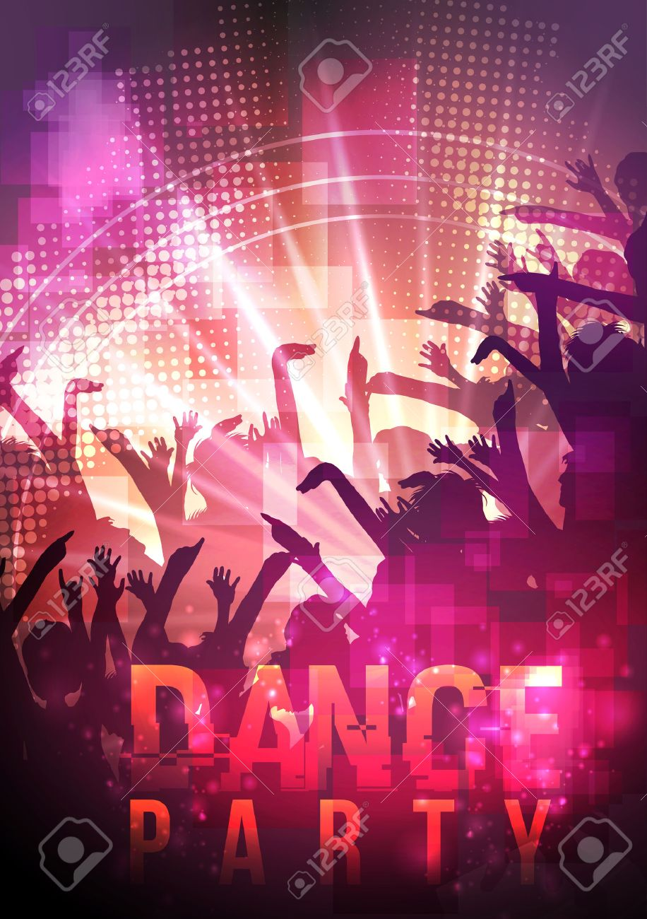 dance party night poster background template vector illustration