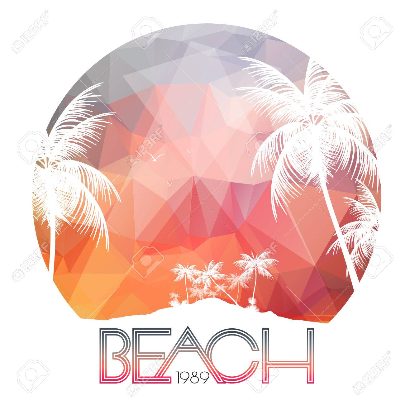 Beach Party Poster with Tropical Island and Palm Trees - Vector Illustration - 38112329