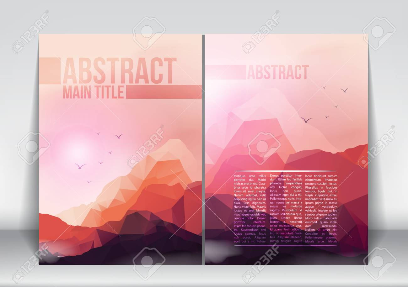 Abstract Flyer Brochure Design Template with Geometric Mountains Background - Vector Illustration - 38744888