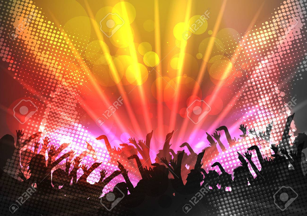 Party People Crowd, Festive Disco Event Background - Vector Illustration - 43604693