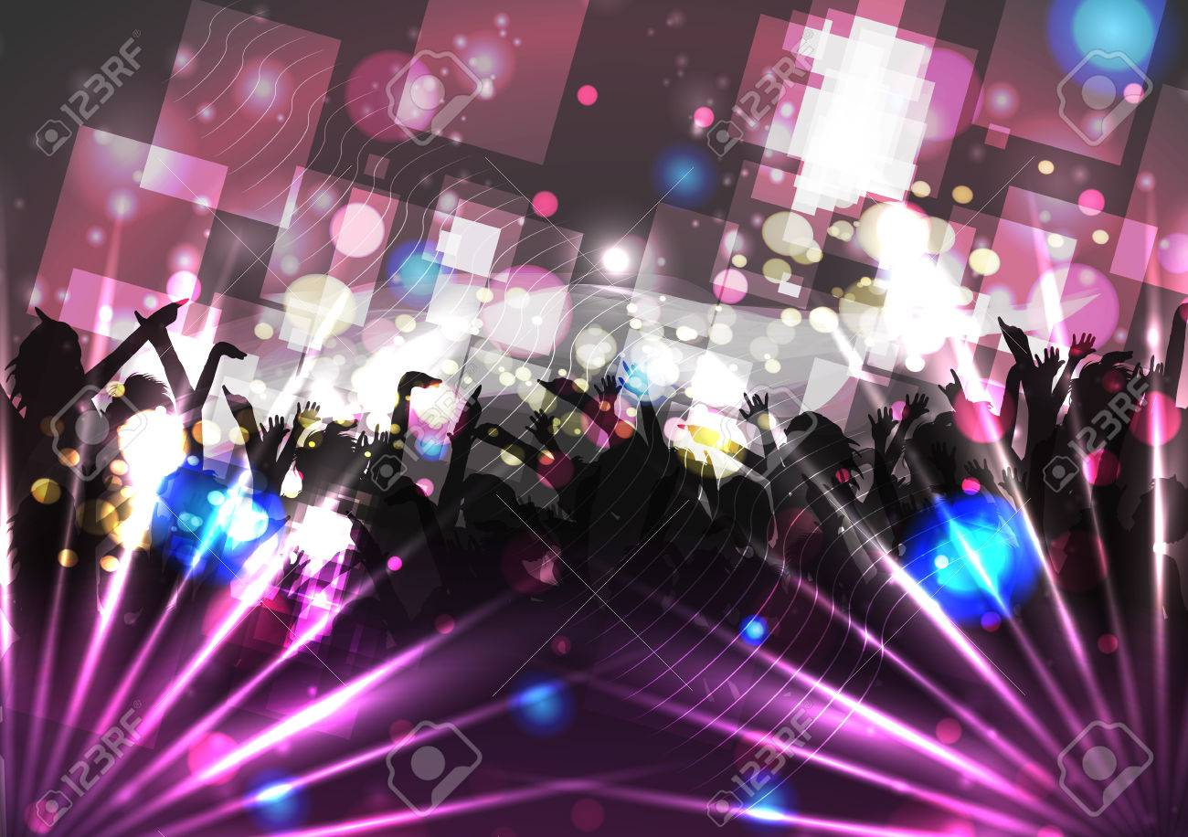Dancing People Party Crowd Disco Background - Vector Illustration - 43219171