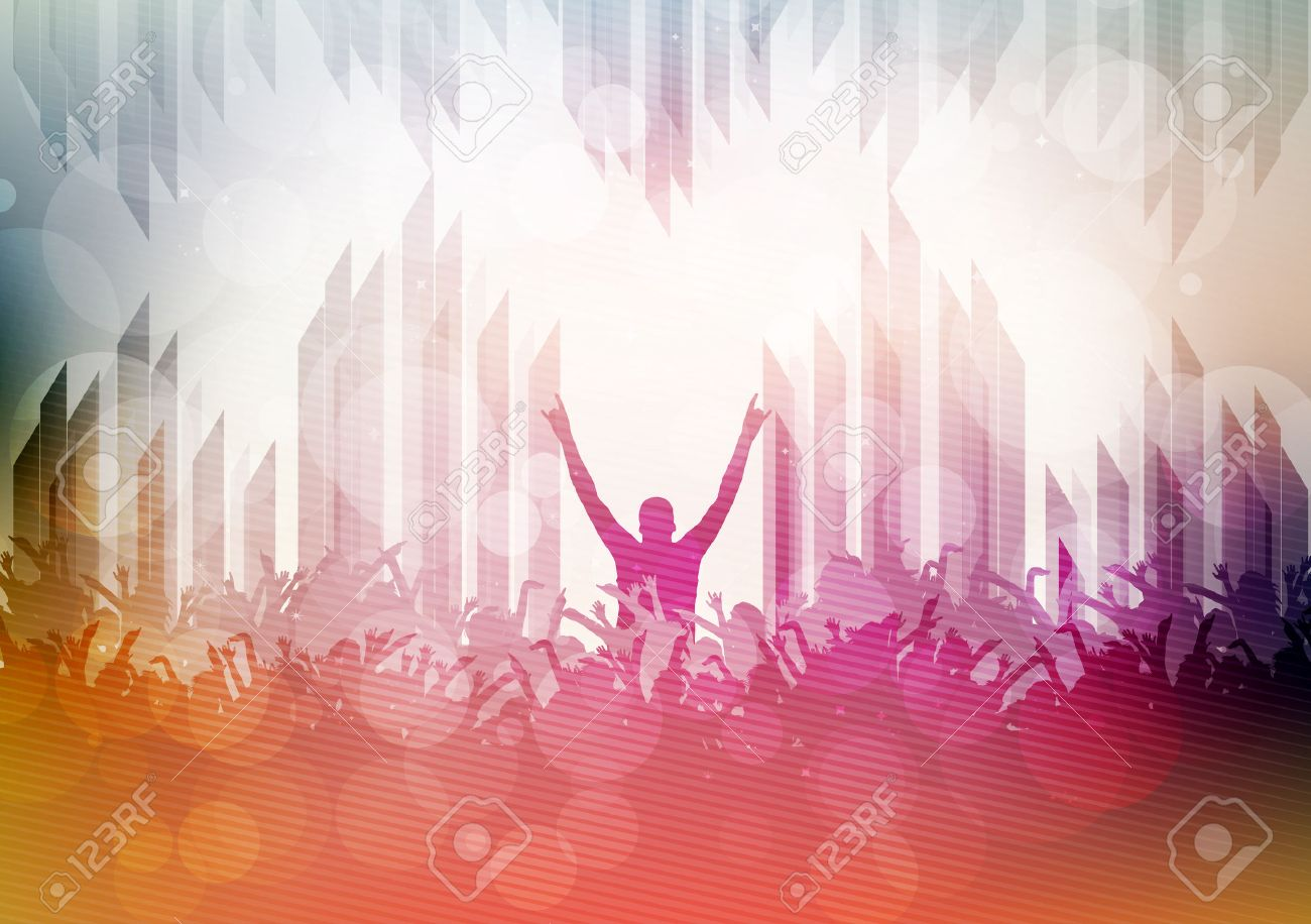 Dancing People Party Crowd Disco Background - Vector Illustration - 43219172
